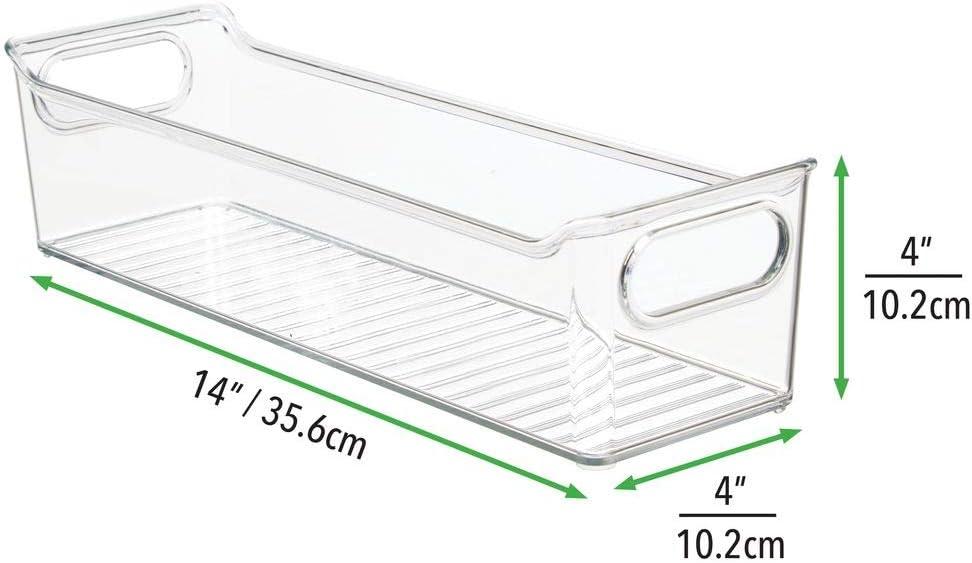 durchsichtig Kunststoffbox f/ür die Schreibtischablage zur Aufbewahrung von K/üchen- Badezimmer- oder B/üroutensilien mDesign 2er-Set Aufbewahrungsbox mit integrierten Griffen