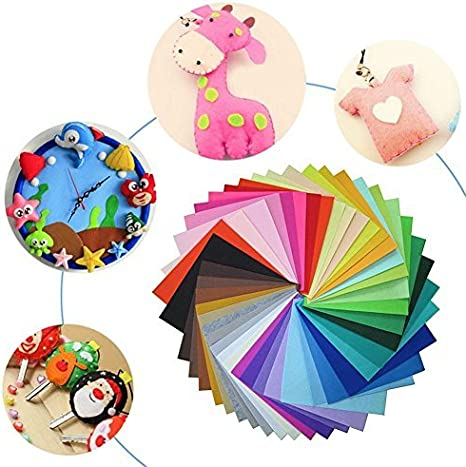 Whitelotous 40pcs Assorted Color Felt Fabric Cloth DIY Craft Kids Sewing Nonwoven Home Decor 6 X 6 inch