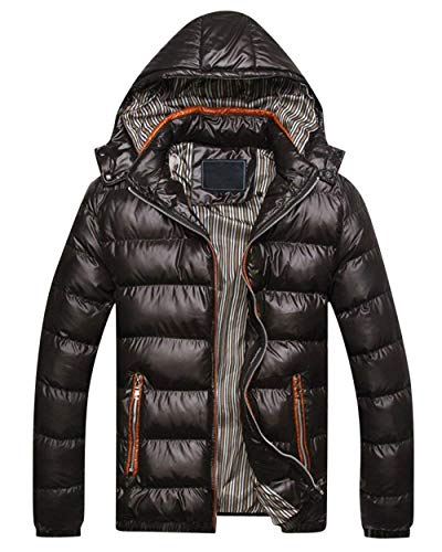 Adelina Men's Winter Jacket Quilted Down Warm Jacket Jacket with Hooded Slim Fit Outerwear Outdoor Jacket Coat Schwarz