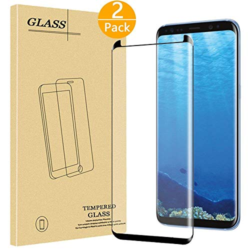 [2 Pack] Galaxy S9 Plus Tempered Glass Screen Protector With 9H Hardness Crystal Clear Anti-Scratch Anti-Fingerprint Bubble Free Easy Installation Lifetime Replacement Warranty, Black