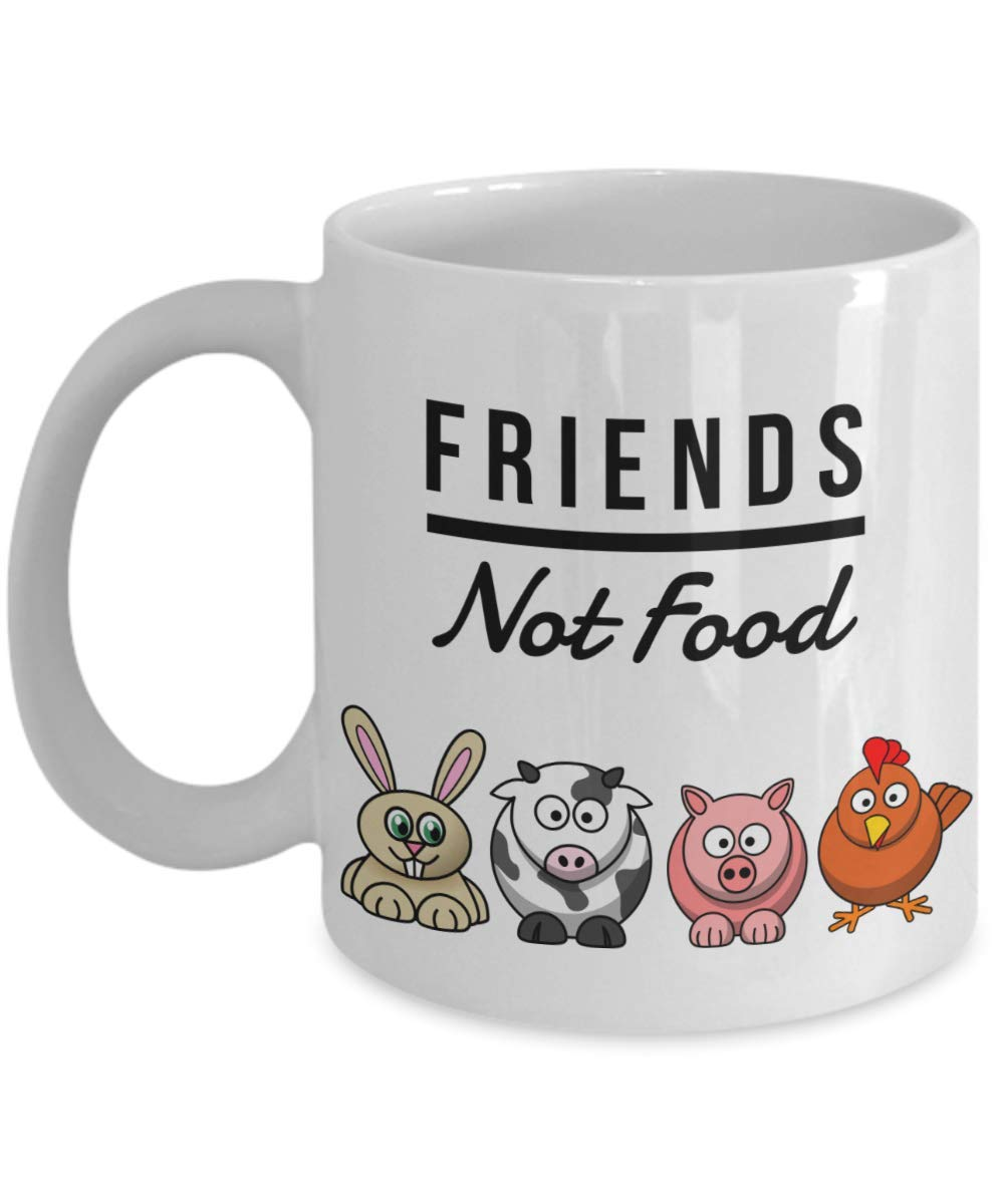 Funny Vegan Mug Friends Not Food Gag for Vegetarian Ceramic Coffee Cup Birthday Gift Bday Coworkers Men Women Him Her Mom Dad Sister Present Idea Boyfriend Girlfriend 11oz