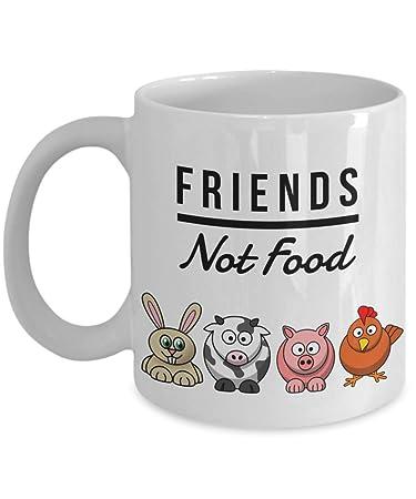 Funny Vegan Mug Friends Not Food Gag For Vegetarian Ceramic Coffee Cup Birthday Gift Bday Coworkers