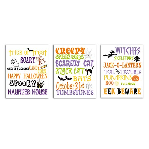 Halloween Tombstone Sayings (Unframed Happy Halloween Wall Art Print Scary Sayings Trick Or Treat Art Painting,Set of 3(8