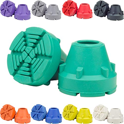 SureTip Teal Crutch Tips & Cane Tip (Pair of 2) - 1 Size Fits All 3/4