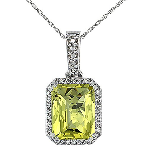 Or blanc 9 carats Pendentif Quartz Citron Naturel octogone 9 x 7 mm et Accents de diamant