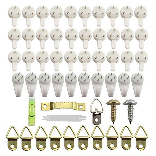 (Tegg 80pcs Picture Frame Traceless Nail Hook Assortment Furniture Hardware Fitting Home Decoration DIY Wall Hanging Fasteners for Picture Photo Mirror Painting Collection)
