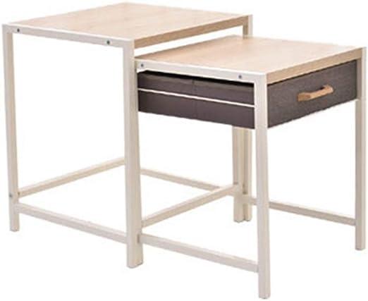 Table XIA Nido de mesas Mesas de Centro Mesa Auxiliar Multifuncional en el Lado de la Sala de Estar con cajón de Tela: Amazon.es: Hogar