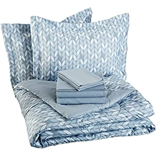 AmazonBasics 7-Piece Light-Weight Microfiber Bed-In-A-Bag Comforter Bedding Set - Full or Queen, Grey Leaf