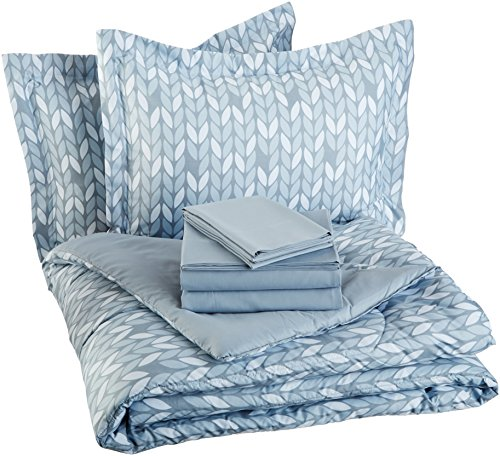 AmazonBasics 7-Piece Bed-In-A-Bag, Full / Queen Bedding Comforter Sheet Set, Grey Leaf