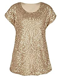 Women's Loose Bat Sleeve Sequin Tops