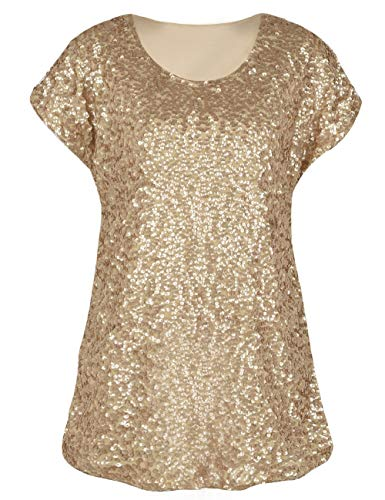 PrettyGuide Women's Evening Tops Sparkle Shimmer Glam Sequin Blouse Matte Gold S/US6-8 ()