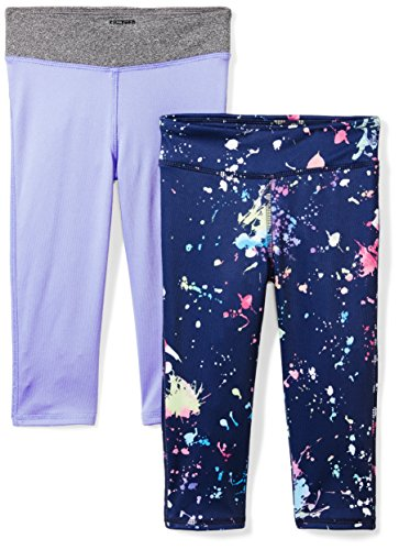 Spotted Zebra Little Girls' 2-Pack Active Capri Legging, Paint Splatter, Small (6-7)
