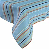 R.LANG Spill Proof Tablecloth Square Tablecloth UV-Resistant Outdoor Fabric Sky Blue/Brown 52 x 52-inch