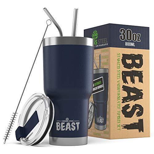 Beast 30oz Navy Blue Tumbler - Stainless Steel Vacuum Insulated Coffee Ice Cup Double Wall Travel Flask