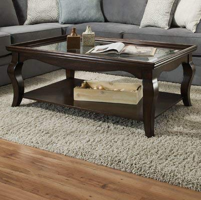 Amazon Com Wood Coffee Table With Curved Legs And Glass Top