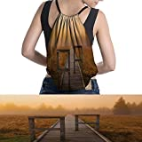 Nature waterproof drawstring bag Wooden Road Leads to the Misty Forest on a Foggy Day Image Dreamy Nature Theme Artmakeup Orange Brown