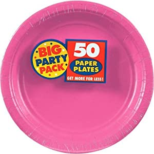 "Bright Pink, Big Party Pack, Round Paper Plates 9"", 50 Per Pack"