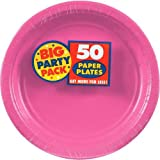 Amscan Bright Pink Dinner Paper Plate Big Party Pack, 50 Ct.