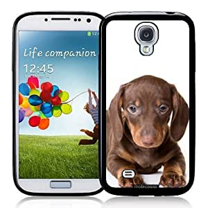 Cool Painting Dachshund (Short-Haired) Puppy Dog - Protective Designer BLACK Case - Fits Samsung Galaxy S4 i9500