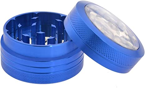 Amazon Com Neranena Herb Spices Grinder 1 6 Pocket Mini Crusher Button For Adjustable Grinding Plate For Easy Cleaning Extarcting Blue Kitchen Dining
