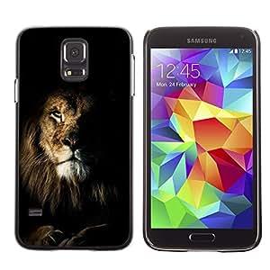 Planetar® ( Lion Black Nature Mane Roar King Cat ) SAMSUNG Galaxy S5 V / i9600 / SM-G900F / SM-G900M / SM-G900A / SM-G900T / SM-G900W8 Fundas Cover Cubre Hard Case Cover