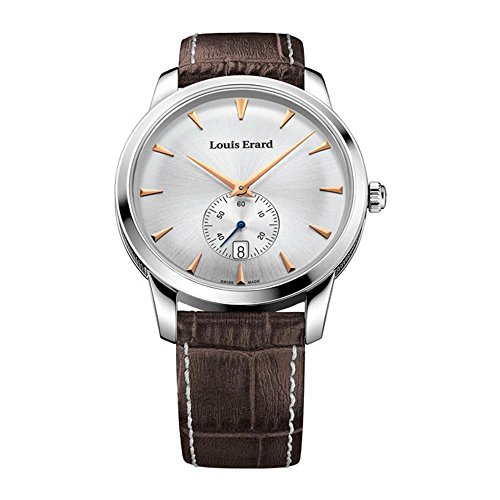 Louis Erard Men's Brown Leather Band Steel Case Quartz Silver-Tone Dial Analog Watch 16930AA11.BEP101