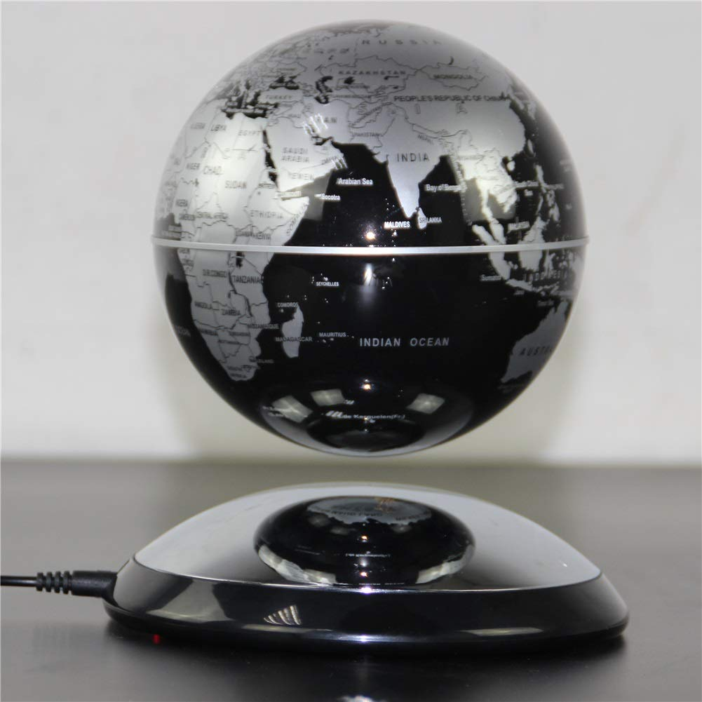 Quisilife World Globe Magnetic Globe Floating World Map Globe with LED Light Swivel Teaching Aids Attraction Illuminated Educational and Fun for School Children Family (Color : Silver) by Quisilife