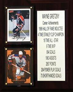 "NHL Edmonton Oilers Wayne Gretzky Career Stat Plaque, 8"" x 10"", Brown"