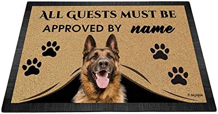 BAGEYOU All Guests Must be Approved Outdoor Doormat with My Love Dog German Shepherd Welcome Floor Mat Custom Name 35.4 x 23.6