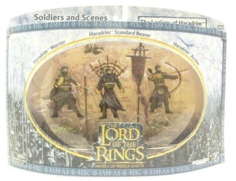 2004 - New Line / Play Along - Lord of the Rings : Armies of Middle Earth - The Legions of Haradrim Set : w/ Haradrim Warrior / Archer / Standard Bearer - Soldiers & Scenes - Battle Scale Figures - Out of Production - Limited Edition - Collectible Battle Scale Figures