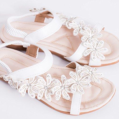 Spylovebuy Fancy Free Damen Blumen Flache Sandalen Schuhe Pumps Weiß - Synthetik Kunstleder