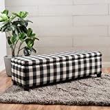Black and White Ottoman Christopher Knight Home 300703 Living Colby Fabric Storage Ottoman Bench (Black&White Checkers), Black Checkerboard