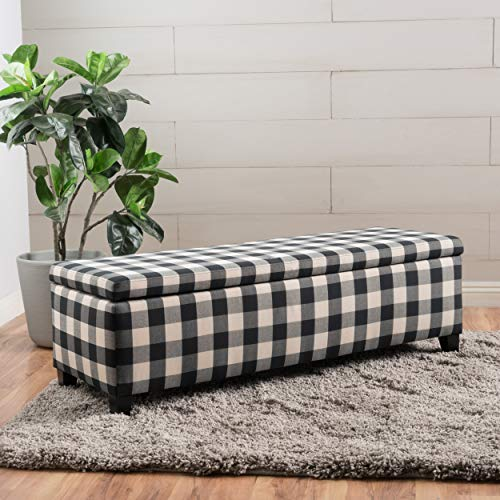 Christopher Knight Home 300703 Living Colby Fabric Storage Ottoman Bench (Black&White Checkers), Checkerboard