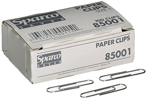 (Paper Clips, Size 1, Regular.033 Wire Gauge, 100/Box, Silver)
