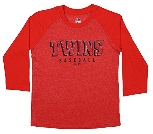Outerstuff MLB Youth's Baseball Academy 3/4 Sleeve Raglan Tee, Minnesota Twins Small -
