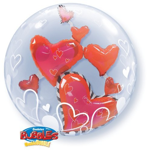 Valentines Day Lovely Floating Hearts 24 Qualatex Double Bubble Balloon by Qualatex (Floating Double Heart)
