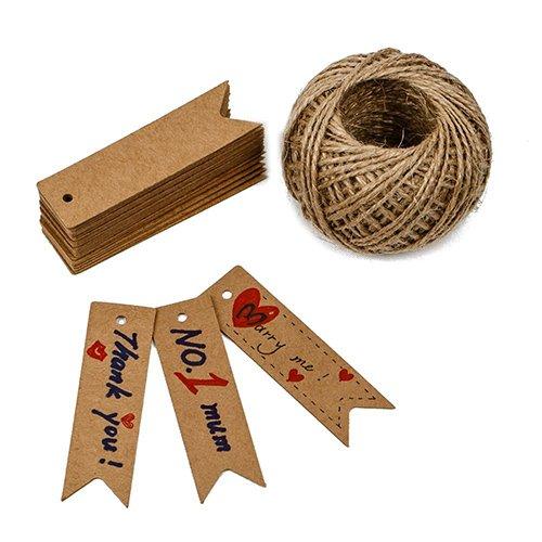 G2PLUS - Etiquetas con cuerda para regalo (100 u., 7 x 2 cm, 30m), marrón marrón