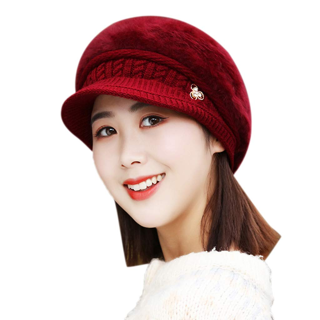 Hats for Women, Ladies Winter Warm Floral Knitted Hat Wool Baggy Beret Hat Slouch Snow Ski Caps with Visor