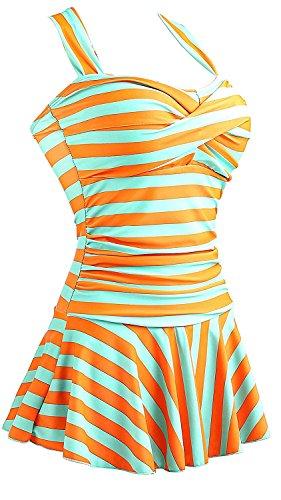 MiYang Women's One Piece Striped Slim Swim Dress Bathing Swimwear Orange Medium US 8-10]()