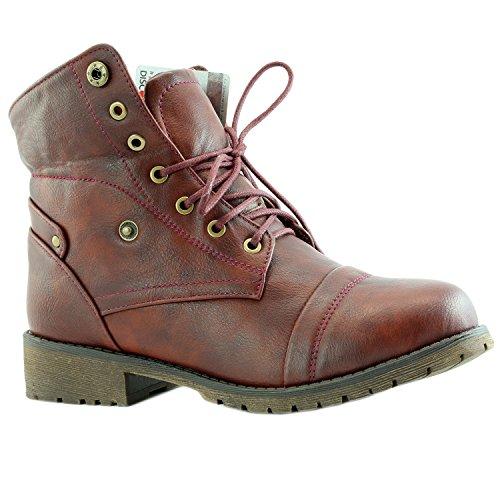 DailyShoes Frauen Kampf Stil Bis Pullover Top Ankle Bootie Mit Tasche Für Kreditkarten Messer Geld Brieftasche Tasche Stiefel Burgunder Pu