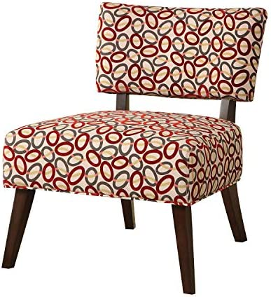 Major-Q Contemporary Style Linen Accent Chair for Living Room Bedroom, Tight Back and Seat Cushion, Burgundy Circle Pattern Fabric with Espresso Finish Wooden Tapered Leg