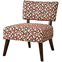 Major-Q 9059074 Contemporary Style Linen Accent Chair for Living Room/Bedroom, Tight Back and Seat Cushion, Burgundy Circle Pattern Fabric with Espresso Finish Wooden Tapered Leg