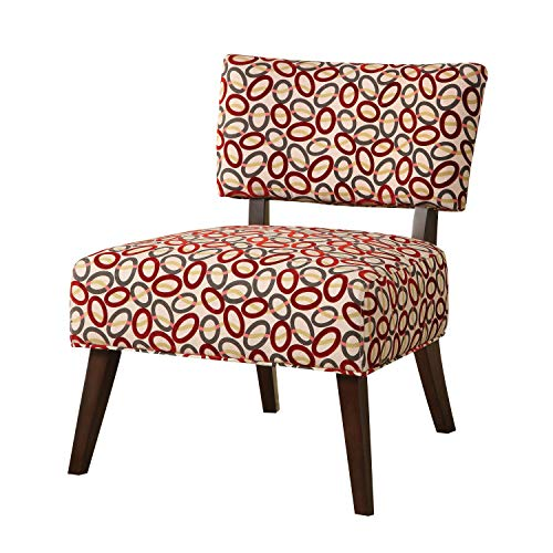 Major-Q 9059074 Contemporary Style Linen Accent Chair for Living Room/Bedroom, Tight Back and Seat Cushion, Burgundy Circle Pattern Fabric with Espresso Finish Wooden Tapered ()