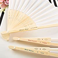 Personalized White Silk Folding Fans, 48