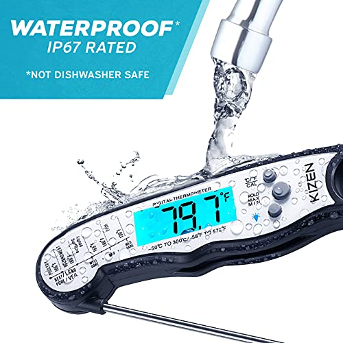 Kizen Digital Meat Thermometers for Cooking - Waterproof Instant Read Food Thermometer for Meat, Deep Frying, Baking, Outdoor Cooking, Grilling, & BBQ (Black/White)