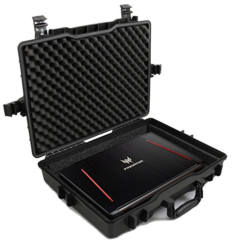 CASEMATIX Elite Custom Waterproof Laptop Case fits Acer Predator Helios 300, Acer Predator Helios 500 and Other Acer Gaming Laptops 15.6 - 17.3 with Accessories