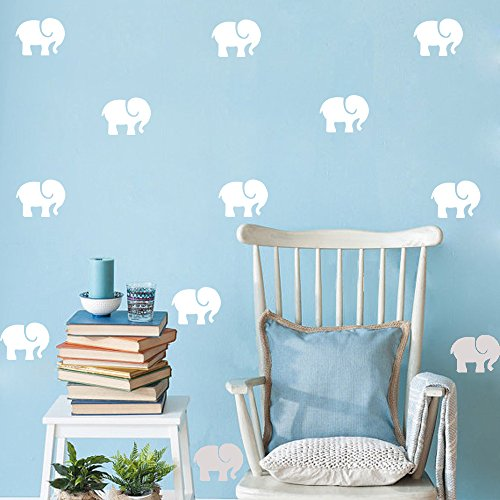 HACASO 45 PCS 2.5 by 3.3 Inches Little Elephant Wall Decal Sticker For Kids Bedroom Decor -DIY Home Decor Vinyl Elephant Mural Baby Nursery Room Wallpaper(White)