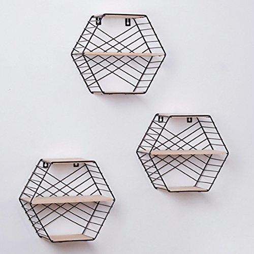 HMANE 3-Tier Wall Storage Rack,Decorative Hanging Hexagon Shelf Organizer for Kitchen,Bathroom,Office - Black by HMANE (Image #4)