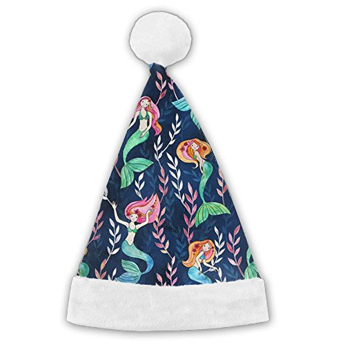 Dancing Mermaids Christmas Santa Hat Unique Lovely Holiday Decoration Perfect Christmas Gift For Boys & Girls, Adult ()
