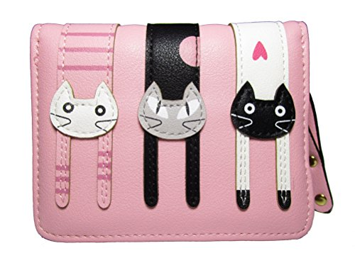 Nawoshow Women Cute Cat Wallet Coin Purse Bifold Wallet Clutch Bag(Pink) by Nawoshow